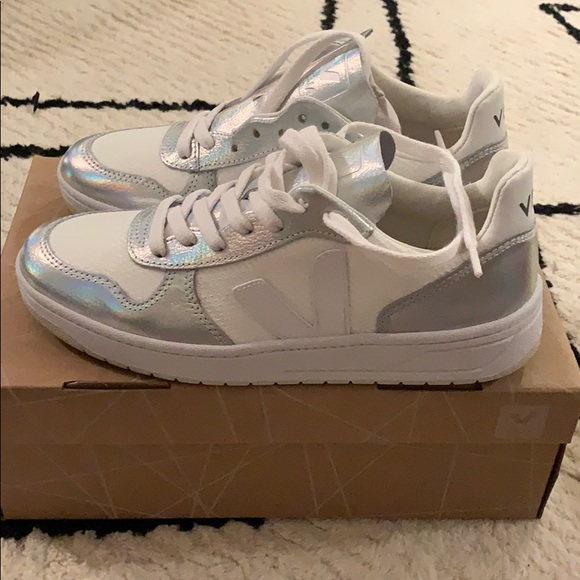 Veja White And Silver Sneakers Size 36